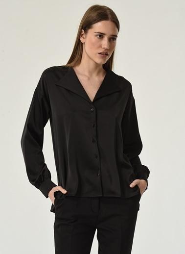NGSTYLE NGSTYLE Kadın Ceket Yaka Gömlek Siyah